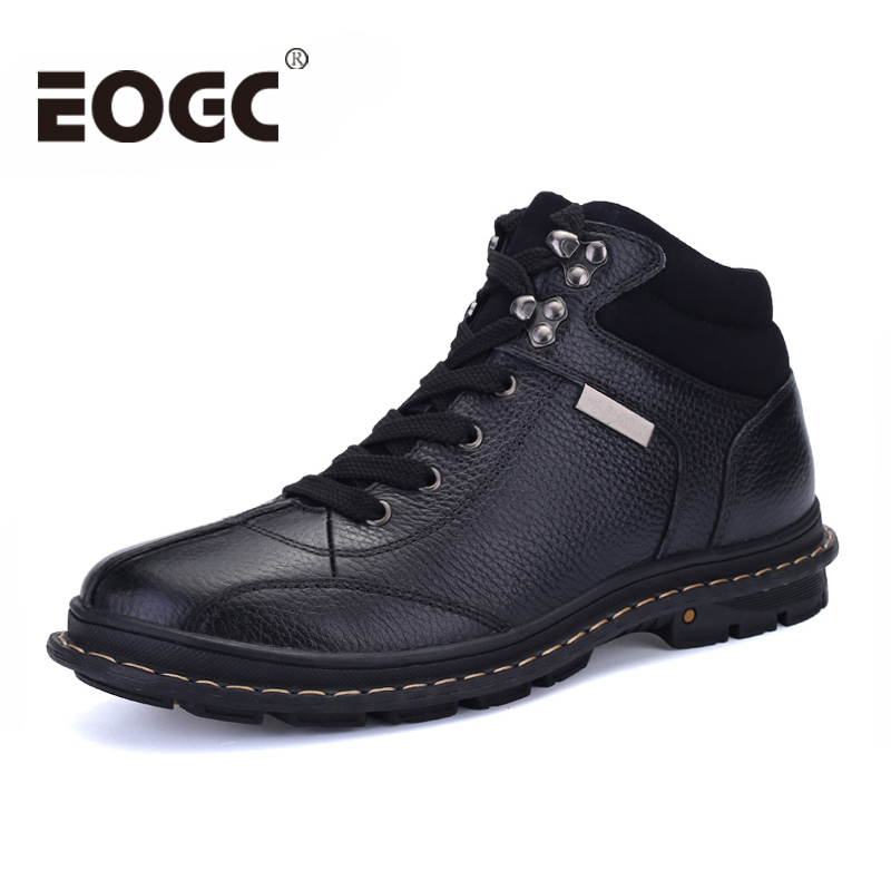 Handmade Genuine Leather Men Boots Cow Leather Winter Boots Size 37-47 Russian Style Men Snow Boots Warm Ankle Winter Shoes men