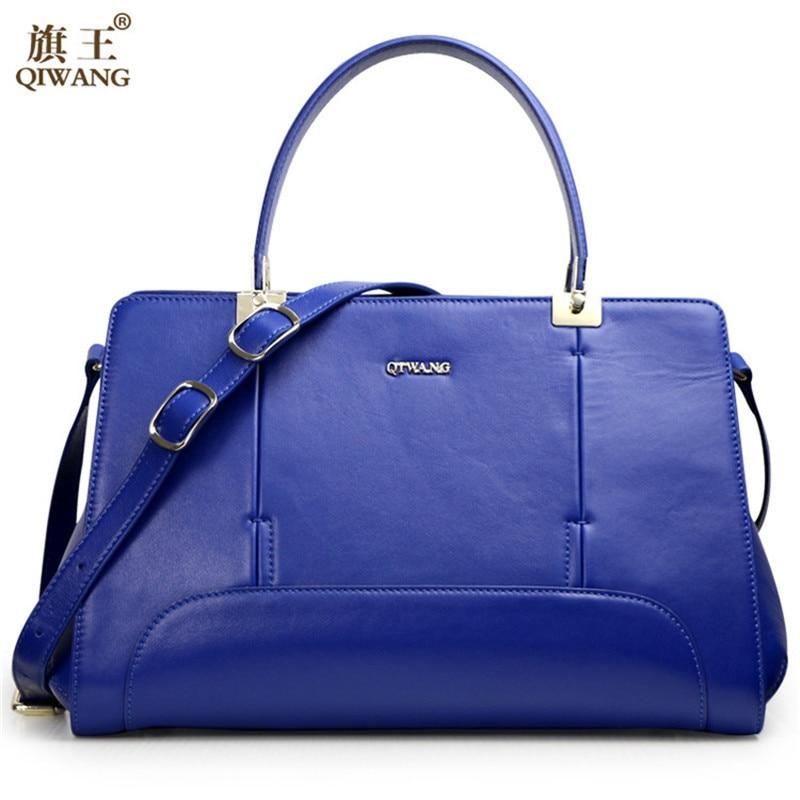 Qiwang Blue Handbags Women Luxury 100% Genuine Leather Tote Hand Bag Sac a Main Large Soft Leather Tote Handbag сумка холодильник igloo sail tote 24 a a blue 18л