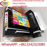 A2 УФ планшетный принтер с Индивидуальные 330 мм * 1050 мм Размер