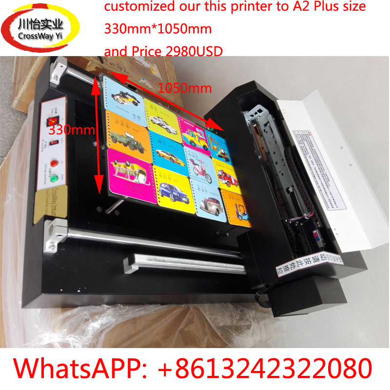 A2 UV Flatbed Printer With Customized 330mm*1050mm Size