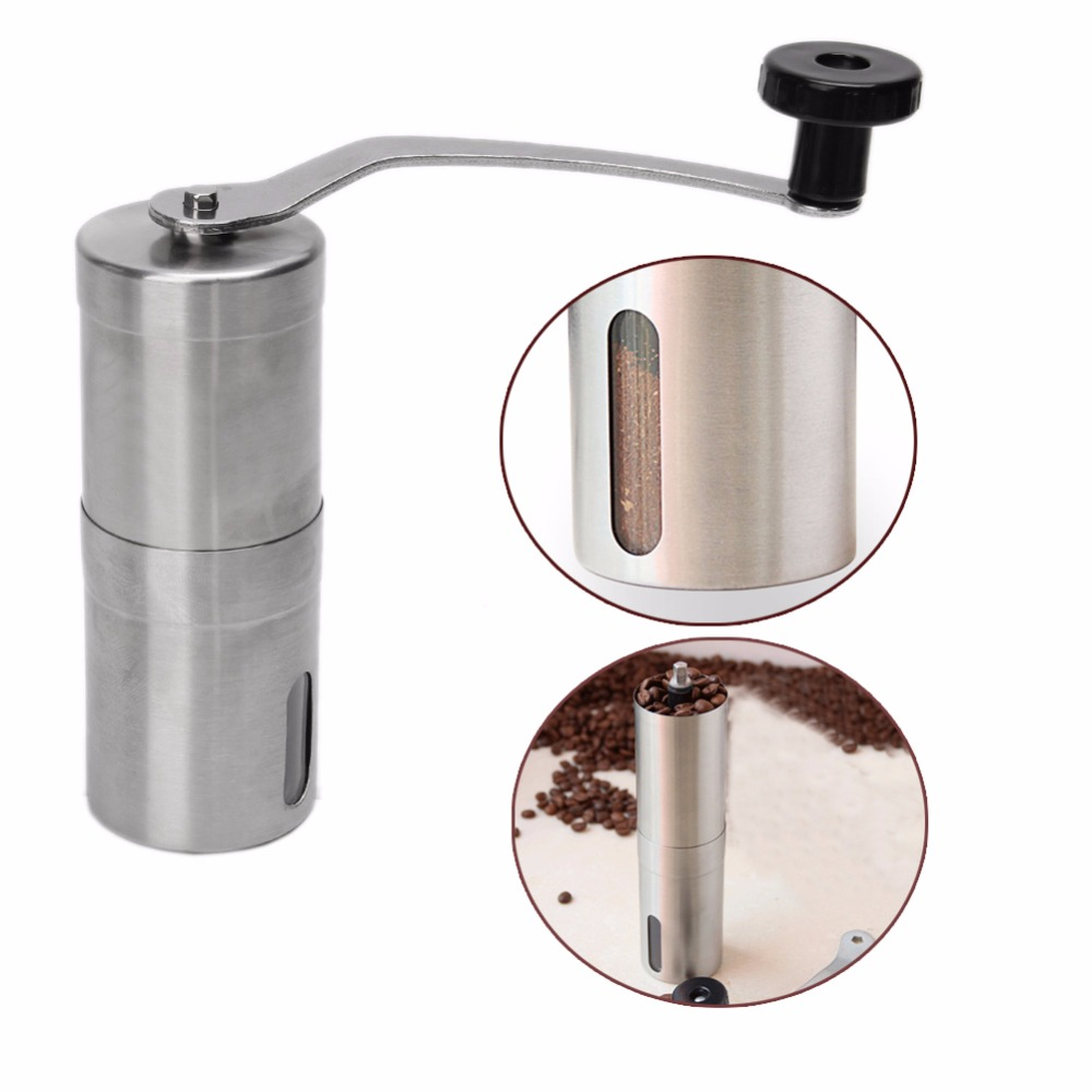 Free_on Stainless Steel Manual Coffee Bean Grinder Mill Hand Grinding Kitchen Helper hand coffee grinder 160ml portable manual handcrank coffee bean spice mill kitchen tool coffee stainless steel abs glass
