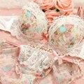 Mulheres Cueca Conjunto de Sutiã E Calcinha Copo B Bordado Lingerie Sexy Conjuntos de Sutiã de Renda Push Up Conjunto de Sutiã