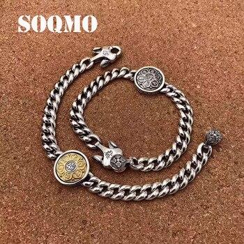 SOQMO, браслеты из стерлингового серебра 925 пробы, буддистские вращающиеся ожерелья с шестью словами для женщин и мужчин, подарок для влюбленн...