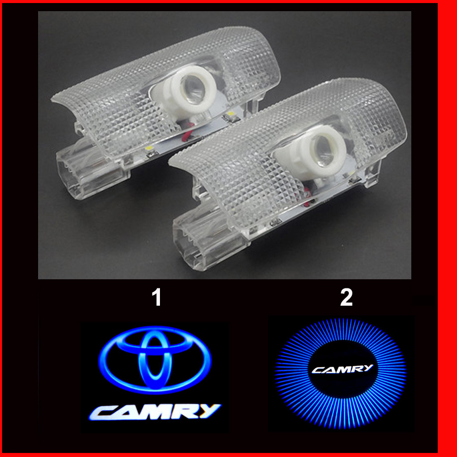 HD brightness car 3D ghost shadow lamp auto 3d camry door logo light bulb welcome projector light for camry 2006-2016 1 pair auto brand emblem logo led lamp laser shadow car door welcome step projector shadow ghost light for audi vw chevys honda