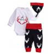 Autumn Baby Clothes Set 3pcs Newborn Baby Boys Girl Tops Oh Deer Bodysuit + Leggings Pants +Hat 3pcs Outfits Clothes Baby Set