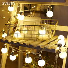 купить SVELTA 5M 20 Gerlyanda Battery Powered Ball LED String Lights Retro Garland Christmas Fairy Lights Holiday Decoration For Room дешево
