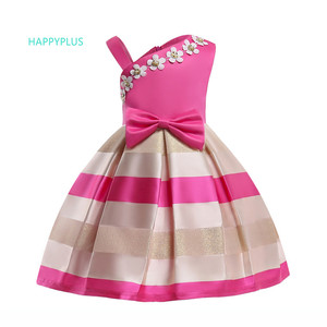 Image 5 - HAPPYPLUS 스트라이프 아이 드레스 여자를위한 패션 아이 드레스 저녁 무도회 한 어깨 핑크 드레스 소녀 공주 여름 2018