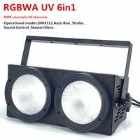 200W LED par cob lights 2x100W RGBWA UV 6in1 LED Strobe white warm Led Audience Blinder light Stage lighting dj disco light