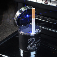 Portable Car ashtray with Light Swan Crystal Rhinestone Led Multi function Car Ash Tray Ashtray Storage Cup Holder For Girls