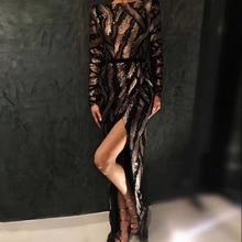 DressBird 2019 Newest Women Spring Long Sleeve Bodycon Dress Vestidos Luxury Sequin Sexy Backless Elegant Maxi Party