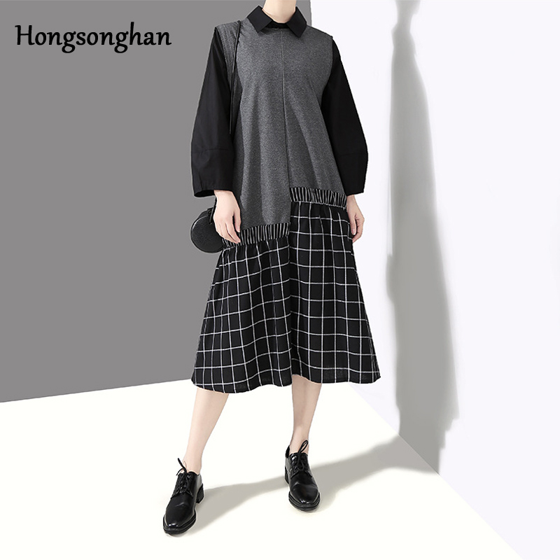 Hongsonghan Vintage women Plaid dress Hot Sale sleeveless patchwork A-line long Casual Spring Summer vestidos