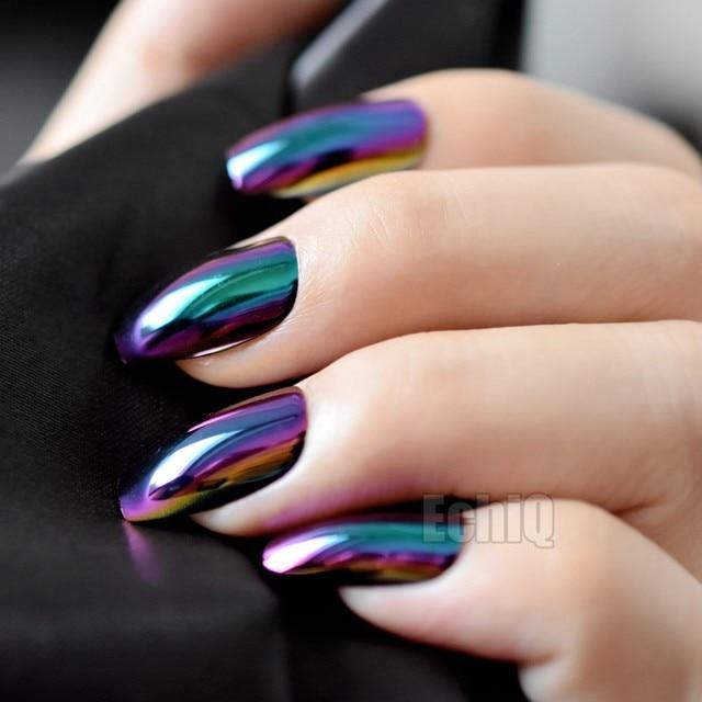 Online Shop 24pcs Holographic Fake Nails Blue Purple Coffin False