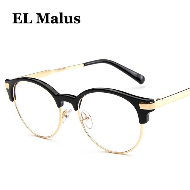 8c89069eb9de [EL Malus]Oval Semi Rimless Eyeglasses Frame Women Mens Clear Transparent Lens  Glasses Gold Silver Shades Brand Designer