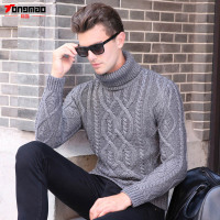 Winter Warm Cashmere Men Sweater Fashion Striped Knitted Turn Down Collar Men Pullover Casual Solid Soft