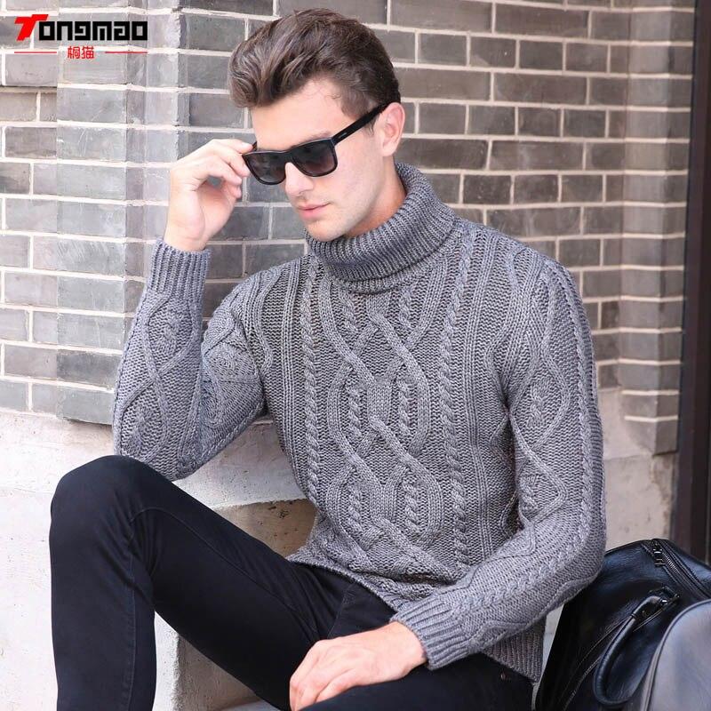 Winter Warm Cashmere Men Sweater Fashion Striped Knitted ...