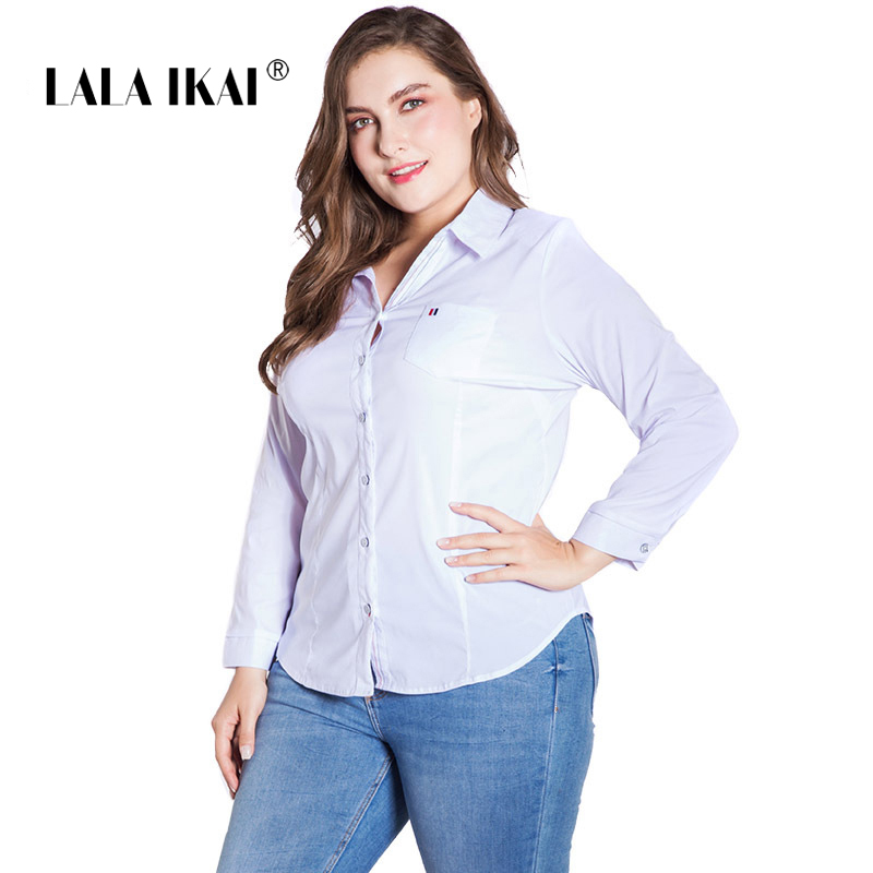 LALAIKAI Plus Size XL 2XL 3XL 4XL 5XL 6XL White Solid Blouse Women Full Sleeve Button Tops Slim Office Ladies Shirt SWA1540-47