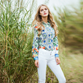 ВЫСОКОЕ КАЧЕСТВО Нового 2017 Дизайнер Рубашка женская С Длинным Рукавом Очаровательная Цветочные Печатный Повседневная Блузка Рубашка
