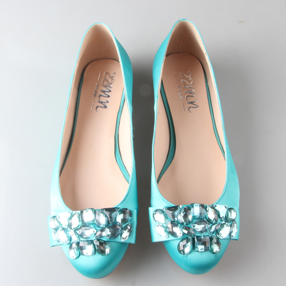 Handmade lake blue turquoise flats with sewed crystals bowknot on the toe woman shoes bridal wedding shoes party prom slip on the glass lake