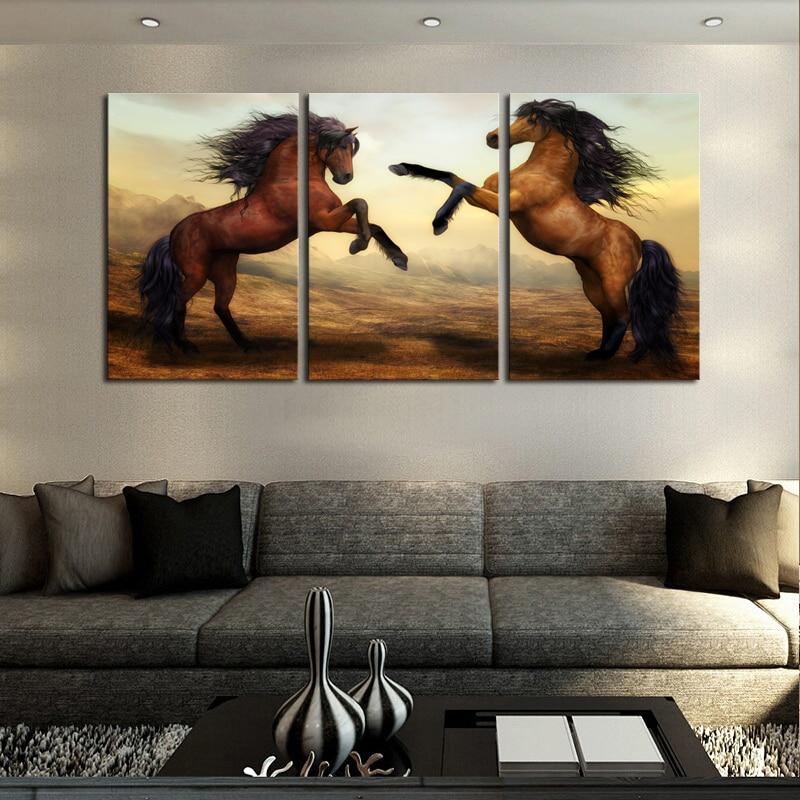 Enmarcado 3 Paneles Moderno Marrón Caballo Lienzo de Pintura de ...