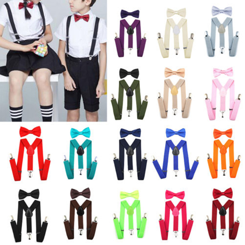 Kids Baby Boys Toddler Elastic Butterfly Knot High Elastic Wedding Matching Braces Suspenders And Luxury Bow Tie Set