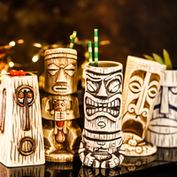 OUSSIRRO Creative Shaman Totem Face TIKI Bar Glass 570ml Wine Cocktail Glasses Whiskey Cup Beer Cup Juice Cup Thicken