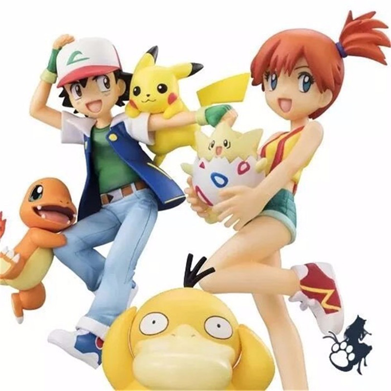 2set/Lot Anime XY Figures Ash Ketchum Pikachu & Charmander & Kasumi & Togepi & Psyduck action & toy figures action
