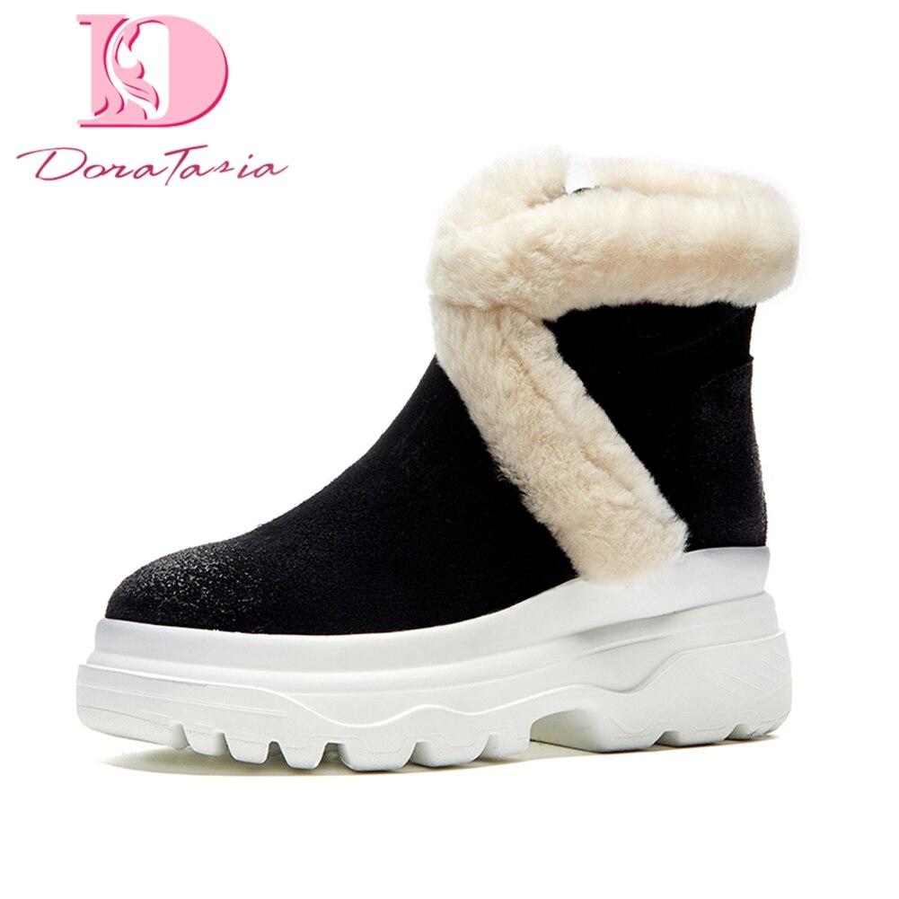 695a5e743 Rusia Retro Doratasia Dropship Botas Marca Felpa Vaca Zapatos Mujer Invierno  marrón Gamuza Cuero Tobillo Nieve ...