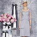 Серый мать невесты платья колен половина рукава короткие вечерние ну вечеринку платье платья Vestido Madrinha 2016