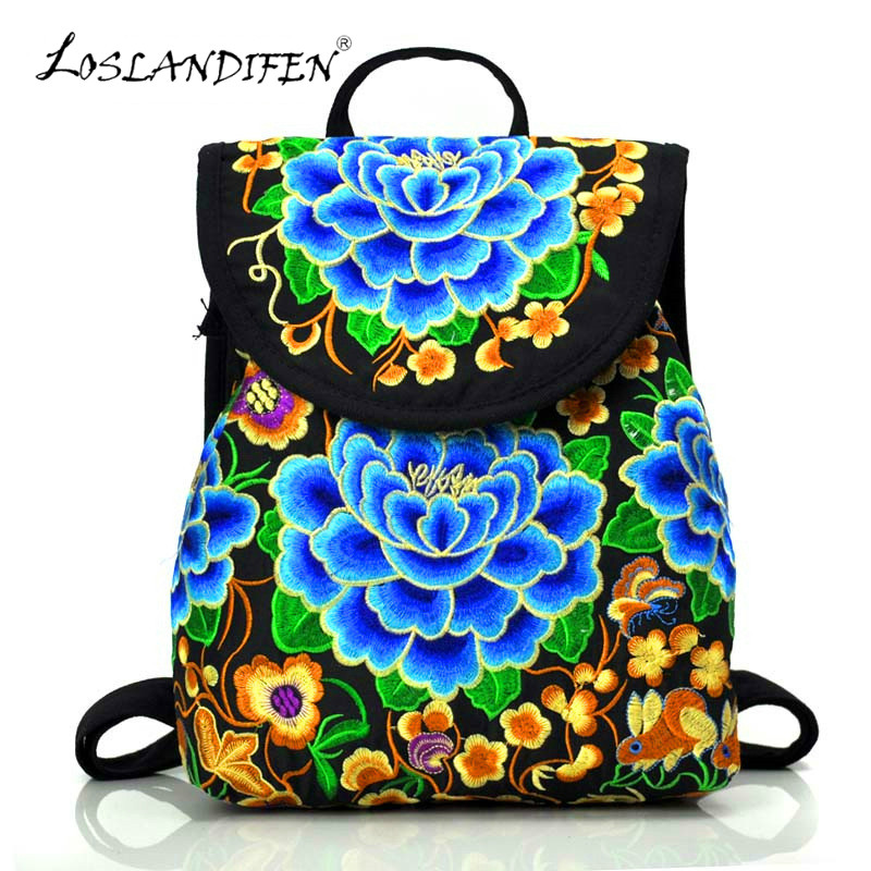 Chinese Ethnic Style Embroidery Backpack Woman Embroidery Bags Embroidered Peony Female Cover String Canvas Women Bag New