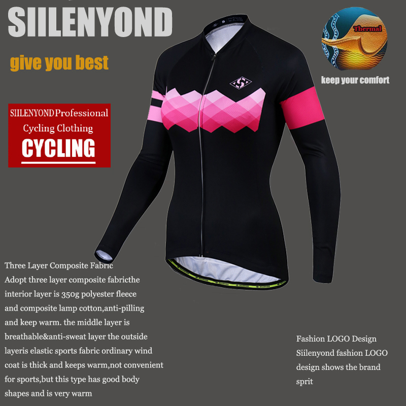 Siilenyond 2019 Pro Women Winter Thermal Cycling Jersey Long Sleeve Mountain Bike Cycling Clothing MTB Bicycle Cycling Clothes 5