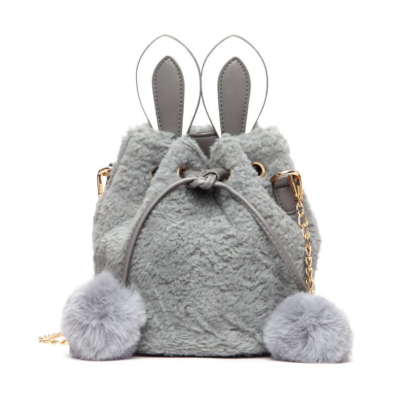 Women's Faux Fur Crossbody Bag Winter Portable Plush Bucket Bag Retro Wild Handbags Cartoon Cute Ladies Shoulder Messenger Bag