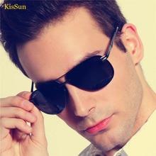 2016 Black G ray Polaroid Rimless Sunglasses for Men Polarized Shades Vintage Driver Sun Glasses KisSun Brand With Original Logo