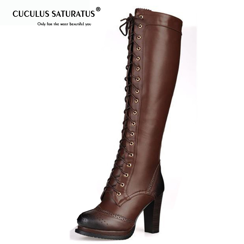 Cuculus 2019 winter fashion lace-up real genuine leather boots black brown high heel thick heels womens knee high boots 1481Cuculus 2019 winter fashion lace-up real genuine leather boots black brown high heel thick heels womens knee high boots 1481