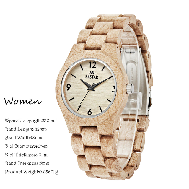 Eastar Women Wooden Watch Analog Quartz Lightweight Handmade Wood Wrist Watch With black Wooden Face Japanese movement 2