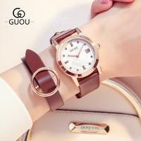 GUOU Classical Retro Quartz Watches Women Calendar Dress Rhinestone Genuine Leather Ladies Luxury Wristwatch Female Elegant Hour