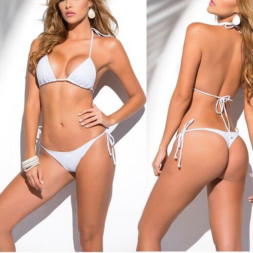 solido bianco classic thong bikini delle donne costumi da bagno estate spiaggia stringa bikinis sexy costume