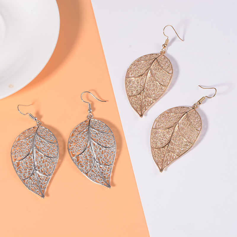 SUKI Boho Gold Silver Color Long Big Leaves Dangle Druzy Earrings Pendant Clasps Drop Earring for Women Fashion Wedding Jewelry