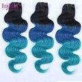 ГОРЯЧИЕ Продажи синий ombre weave 8-30 дюймов Ombre Человеческих Волос 3 Шт. 1b/blue/голубой 3 тона ломбер бразильские волосы пучки