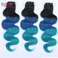 Venda QUENTE azul ombre tecer 8-30 polegada de Cabelo Humano Ombre extensões de cabelo 3 Pcs 1b/blue/azul claro 3 tom ombre cabelo brasileiro feixes