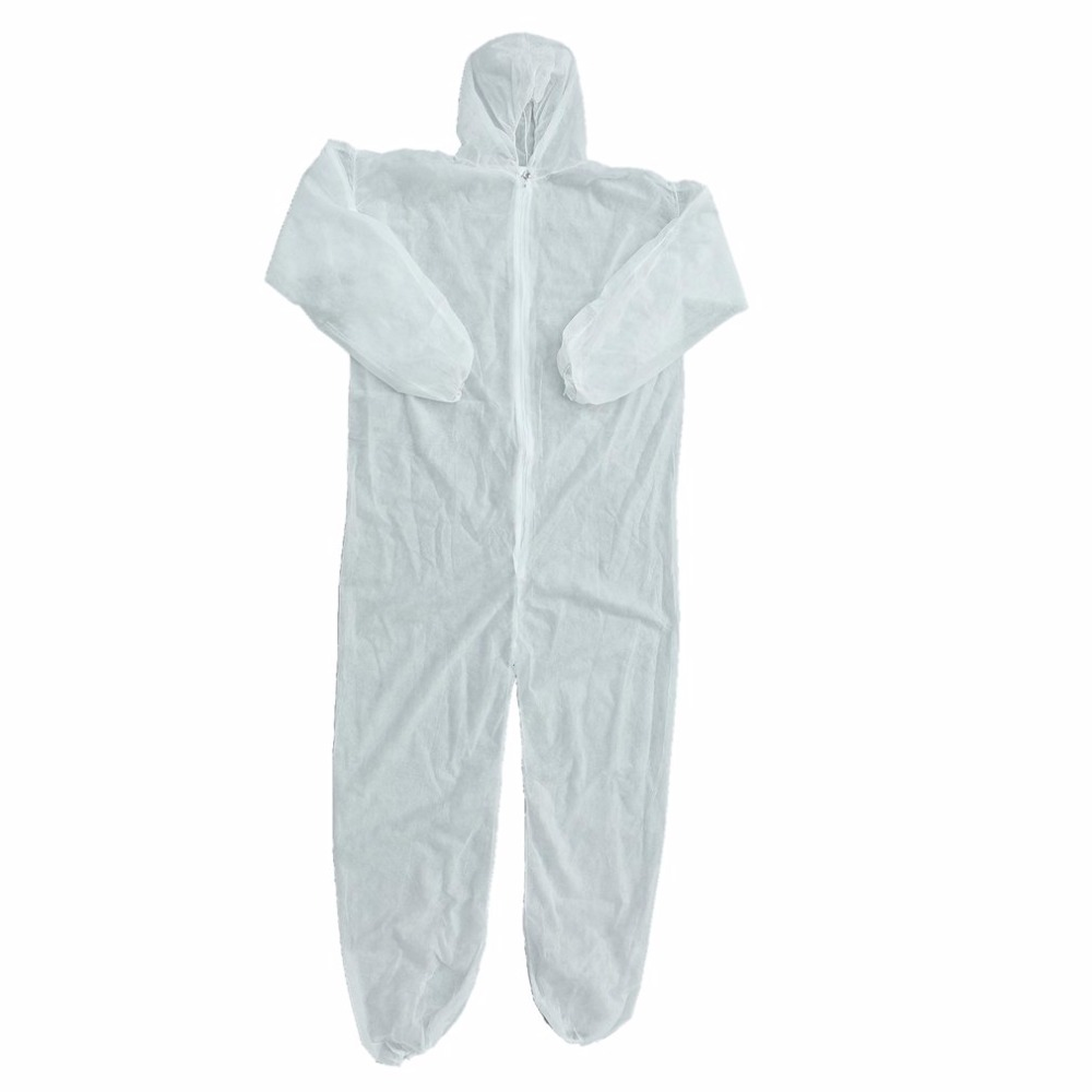Disposable Coverall Dust Spray Suit Siamese Non-woven Dust-proof Clothing White Labor Safely Security Protection Clothes цена