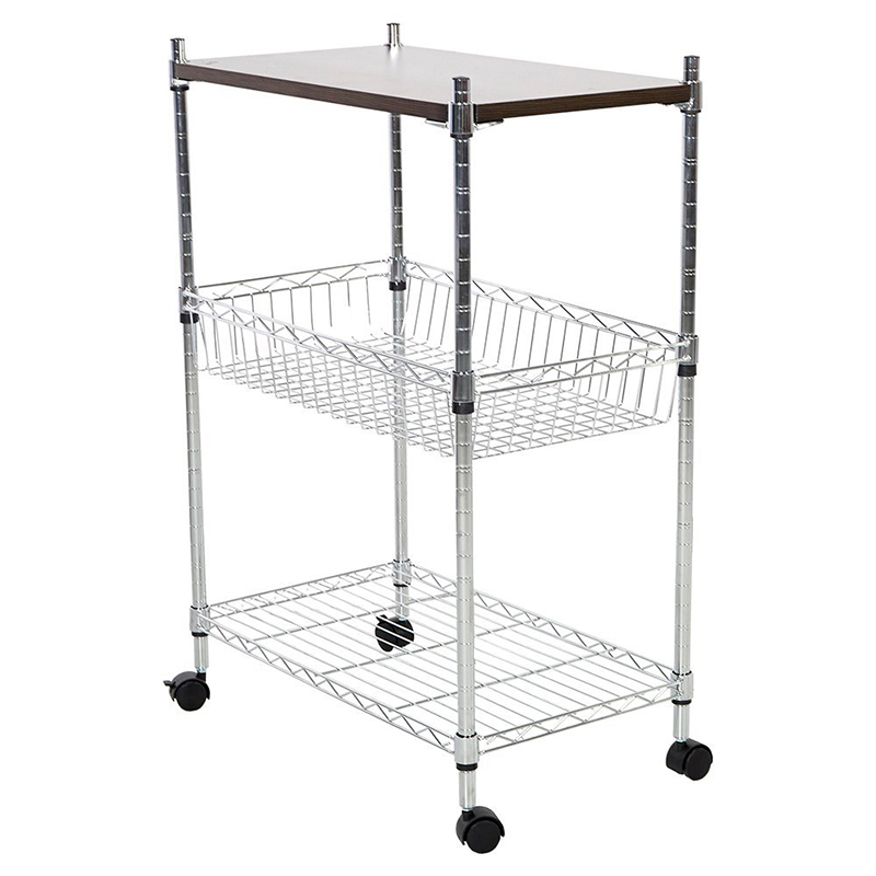 Aliexpress.com : Buy 3 Tier Heavy Duty Storage Kitchen Office Cart Metal  Basket Trolley With Wheels Chopping Board From Reliable Storage Kitchen  Suppliers ...