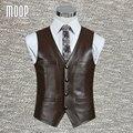 Negro marrón genuino chaleco de cuero 100% de cuero de piel de cordero abrigo chaleco chaqueta chaleco de los hombres de negocios hombre colete LT705 Envío Gratis