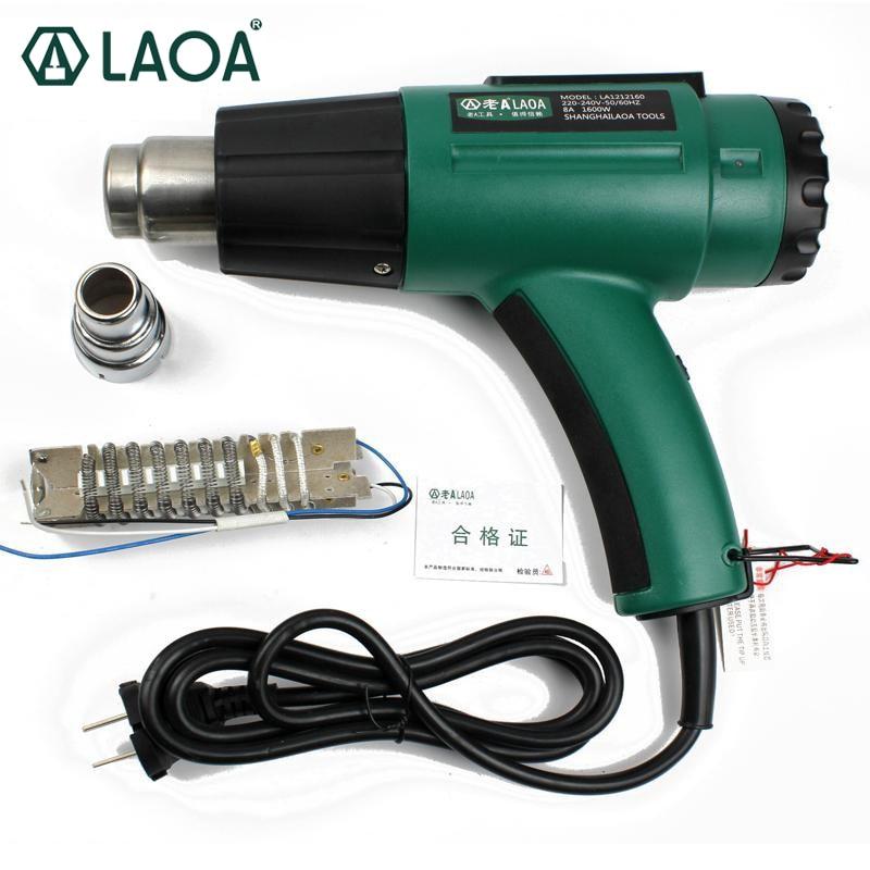 LAOA 1600W forrólevegős pisztoly Hosszú élettartam Hőmérsékleten állítható hőágy / forró pisztoly ragasztó