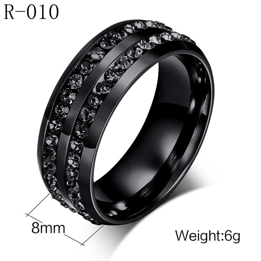 Хан издание кольцо Оптовая Кристалл Мозаика Черный Titanium стальное кольцо покрытие вакуум черный цвет сохранение в течение длительного врем...