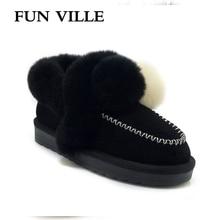 FUN VILLE 2018 New Fashion Women Snow boots Thick Heel Platform shoes Fur Warm Winter Boots Round Toe Femal winter Flat shoes недорого