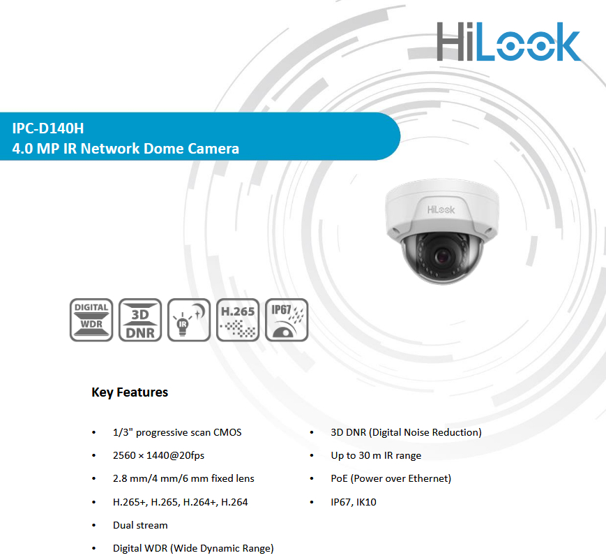 Hi Look Security IP Camera Onvif IPC D140H Hikvision 4MP