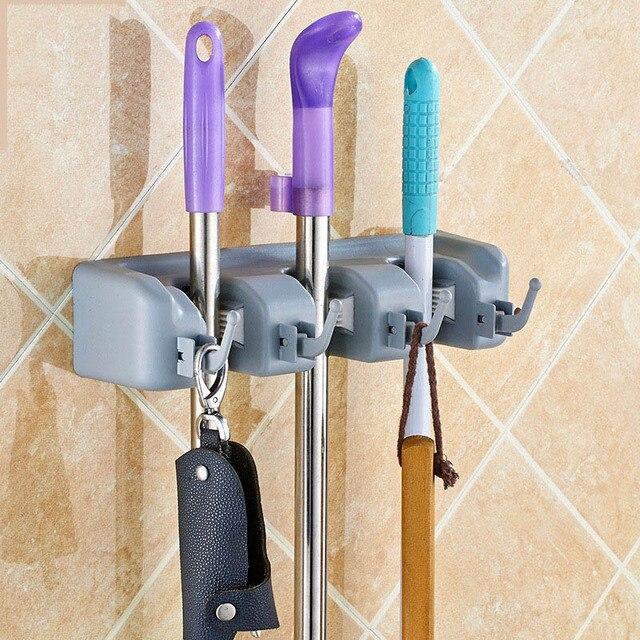 Kuchnia uchwyt ścienny Mop 3/4/5 pozycji kuchnia przechowywania Mop szczotka miotła wieszak wieszak na ręczniki łazienka organizator wieszak narzędzie