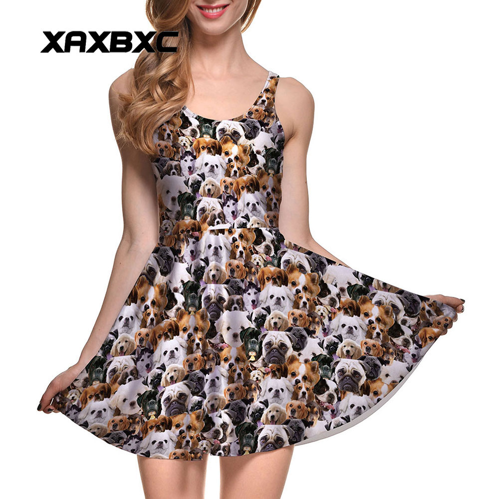 XAXBXC New 1054 Summer Sexy Girl Dress Cute Pet Dog Puppy Prints Reversible Vest Skater Women Pleated Dress Plus Size