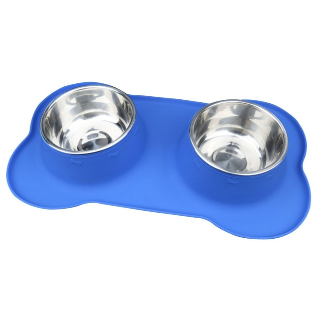 Pet Dog Feeders Bowl Silicone Bone Prevent Dog Food Spilled Pet Stainless Steel Double Bowls Cats Dog Products Supplies 05