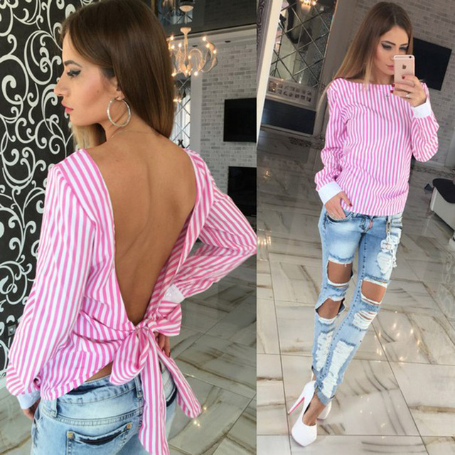 fca8169fe7298 Women Blouse 2016 Fashion White Striped Open Back Sexy tops Long Sleeve Shirt  Women Summer Clothes Free shipping plus size